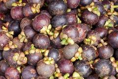 Priorità bassa fresca della frutta dei mangostani Fotografie Stock