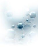 Priorità bassa futuristica con le molecole blu Fotografie Stock