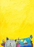 Priorità bassa gialla con il gatto divertente Fotografia Stock Libera da Diritti