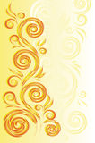 Priorità bassa gialla con l'ornamento floreale Fotografia Stock
