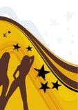 Priorità bassa gialla con le donne Immagine Stock Libera da Diritti