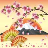 Priorità bassa giapponese con il fiore di sakura Immagine Stock
