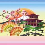Priorità bassa giapponese con sakura - ciliegio Fotografia Stock
