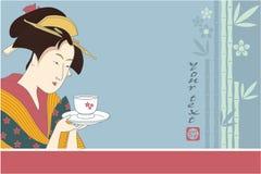 Priorità bassa giapponese del geisha Fotografia Stock Libera da Diritti