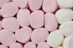 Priorità bassa gigante bianca e di colore rosa delle caramelle gommosa e molle fotografia stock