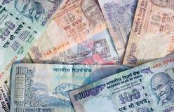 Priorità bassa indiana della banconota Fotografia Stock Libera da Diritti