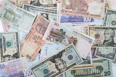 Priorità bassa internazionale dei soldi Fotografia Stock Libera da Diritti