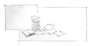 Priorità bassa - libro e fogli di carta le icone Fotografia Stock Libera da Diritti