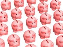 Priorità bassa - lotto dei maiali 3d delle caselle di moneta Immagini Stock