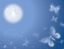 Priorità bassa lunare magica della farfalla Immagini Stock Libere da Diritti