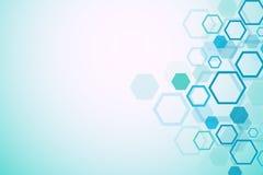 Priorità bassa medica astratta Ricerca del DNA Molecola della struttura e fondo esagonali di comunicazione per medicina illustrazione di stock