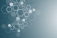 Priorità bassa medica astratta Ricerca del DNA Molecola della struttura e fondo esagonali di comunicazione per medicina royalty illustrazione gratis