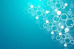 Priorità bassa medica astratta Ricerca del DNA Molecola della struttura e fondo esagonali di comunicazione per medicina illustrazione vettoriale