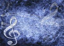 Priorità bassa musicale blu nello stile del grunge Immagini Stock