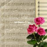 Priorità bassa musicale con il mazzo di rosa per il disegno Fotografia Stock Libera da Diritti