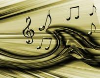Priorità bassa musicale dorata Fotografia Stock