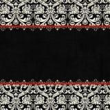 Priorità bassa nera antica del damasco dell'annata Fotografia Stock Libera da Diritti