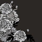 Priorità bassa nera con i fiori Fotografia Stock