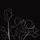 Priorità bassa nera con le rose bianche Immagini Stock