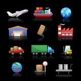 Priorità bassa nera di // delle icone di logistica & di industria Fotografia Stock