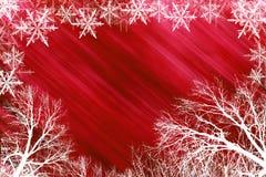 Priorità bassa nevosa rossa Fotografia Stock