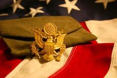 Priorità bassa orizzontale della bandierina degli Stati Uniti con l'emblema dell'aquila Immagine Stock
