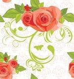 Priorità bassa ornamentale con le rose. Reticolo Fotografia Stock Libera da Diritti