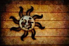 Priorità bassa pagana di simbolo di Sun con struttura aggiunta Fotografia Stock
