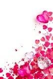 Priorità bassa per la scheda del biglietto di S. Valentino con i cuori di vetro Immagini Stock