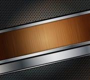 Priorità bassa perforata del metallo con la bandiera di legno Fotografie Stock