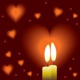 Priorità bassa romantica con due candele e cuori illustrazione vettoriale