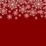Priorità bassa rossa con i fiocchi di neve illustrazione vettoriale