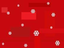 Priorità bassa rossa con i fiocchi di neve Immagini Stock