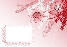 Priorità bassa rossa con i fiori illustrazione di stock