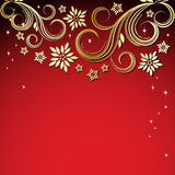 Priorità bassa rossa con i fiori dell'oro. Immagini Stock