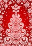 Priorità bassa rossa con l'albero di Natale Immagine Stock