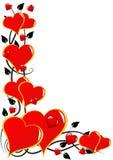 Priorità bassa rossa dei biglietti di S. Valentino dei cuori Fotografia Stock