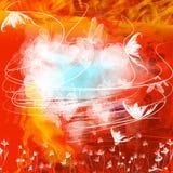 Priorità bassa rossa del grunge con le farfalle Fotografia Stock