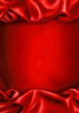 Priorità bassa rossa del tessuto del raso Immagine Stock