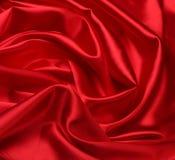 Priorità bassa rossa del tessuto di seta Fotografia Stock