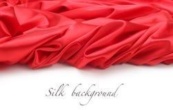 Priorità bassa rossa del tessuto di seta Fotografie Stock