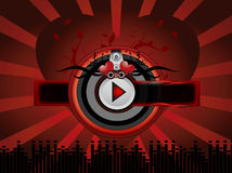 Priorità bassa rossa di musica Immagine Stock Libera da Diritti