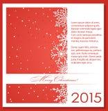 Priorità bassa rossa di natale con i fiocchi di neve illustrazione vettoriale