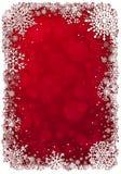 Priorità bassa rossa di natale con i fiocchi di neve illustrazione di stock