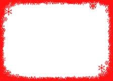 Priorità bassa rossa di natale con i fiocchi di neve Fotografia Stock