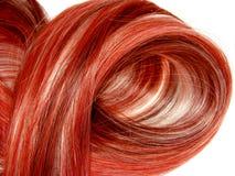 Priorità bassa rossa di struttura dei capelli di punto culminante Fotografie Stock