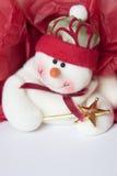 Priorità bassa rossa e bianca del pupazzo di neve di festa. Immagine Stock Libera da Diritti