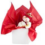 Priorità bassa rossa e bianca del pupazzo di neve di festa. Fotografia Stock