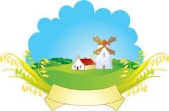Priorità bassa rurale con il mulino a vento e le orecchie Fotografie Stock
