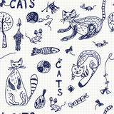 Priorità bassa senza giunte con i gatti di doodle Fotografia Stock Libera da Diritti